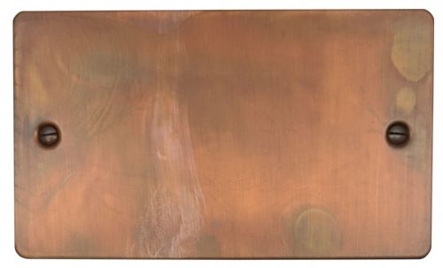 G&H FTC32 Flat Plate Tarnished Copper 2 Gang Double Blank Plate